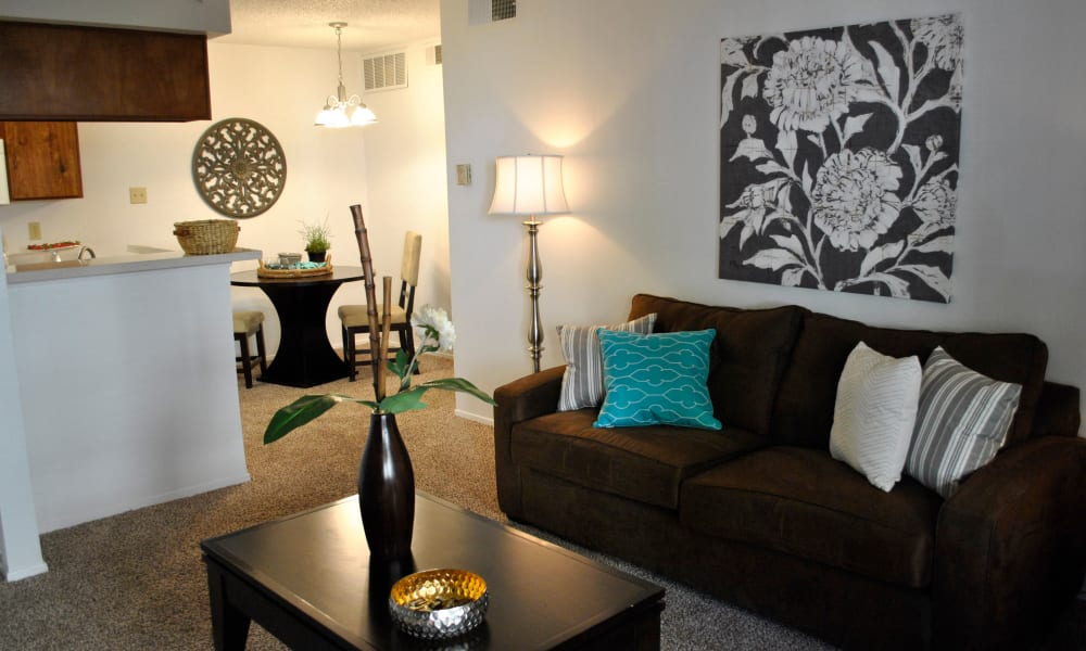 An apartment living room at Double Tree Apartments in El Paso, Texas