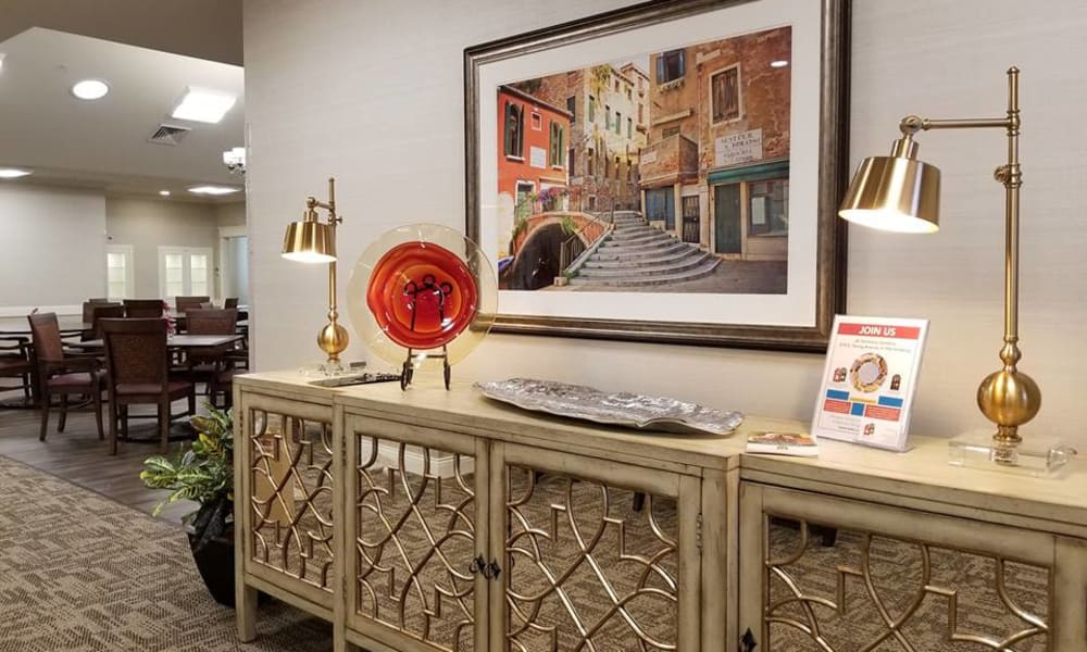 Credenza in the living space at The Arbors at Harmony Gardens in Warrensburg, Missouri