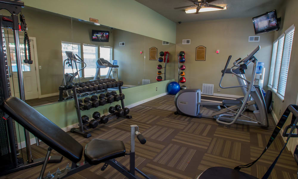 Resident fitness center at Barcelona Apartments in Tulsa, Oklahoma