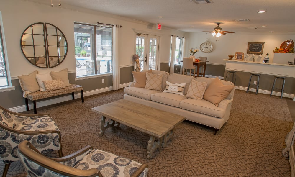 Comfortable seating in the clubhouse at Cimarron Pointe Apartments in Oklahoma City, Oklahoma