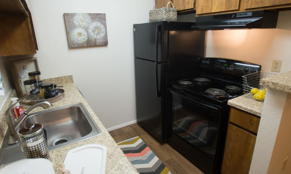 Spacious kitchen at Cimarron Pointe Apartments in Oklahoma City, Oklahoma