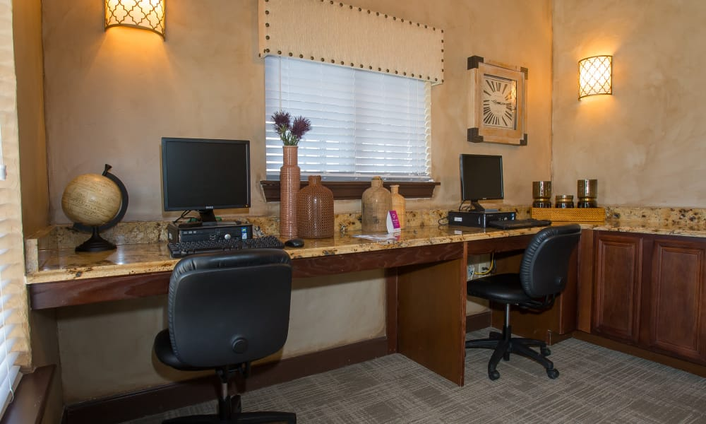 Computer area at Coffee Creek Apartments in Owasso, Oklahoma