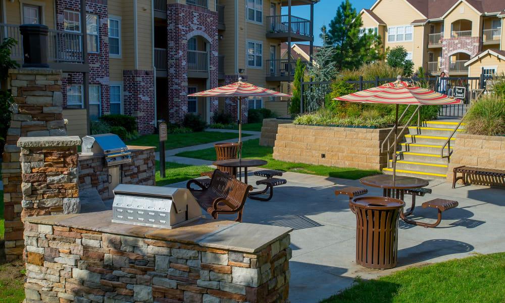 Outdoor patio at Coffee Creek Apartments in Owasso, Oklahoma