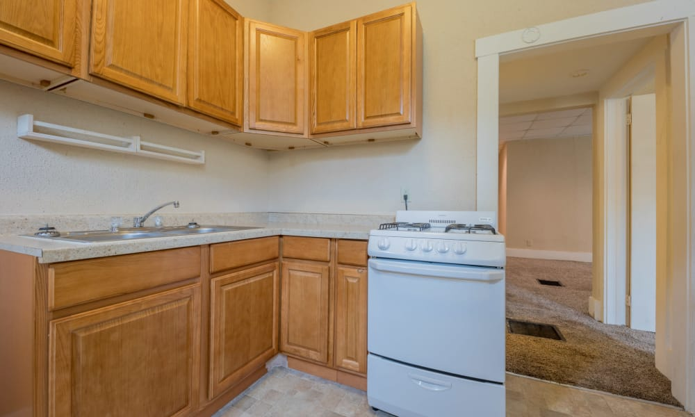 Spacious kitchen at Pleasant Street Apartments in Des Moines, Iowa