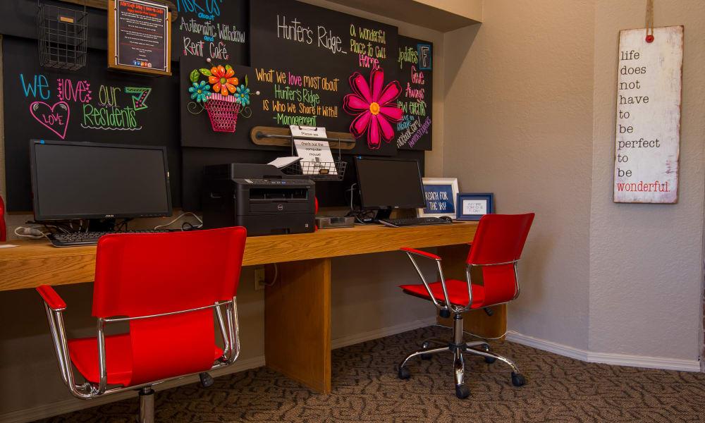 Computer room with printer access at Hunter's Ridge in Oklahoma City, Oklahoma