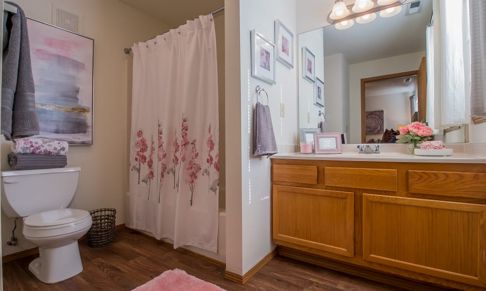 Clean bathroom at Huntington Park Apartments in Wichita, Kansas
