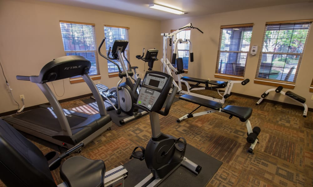 Fitness center for residents at Huntington Park Apartments  in Wichita, Kansas