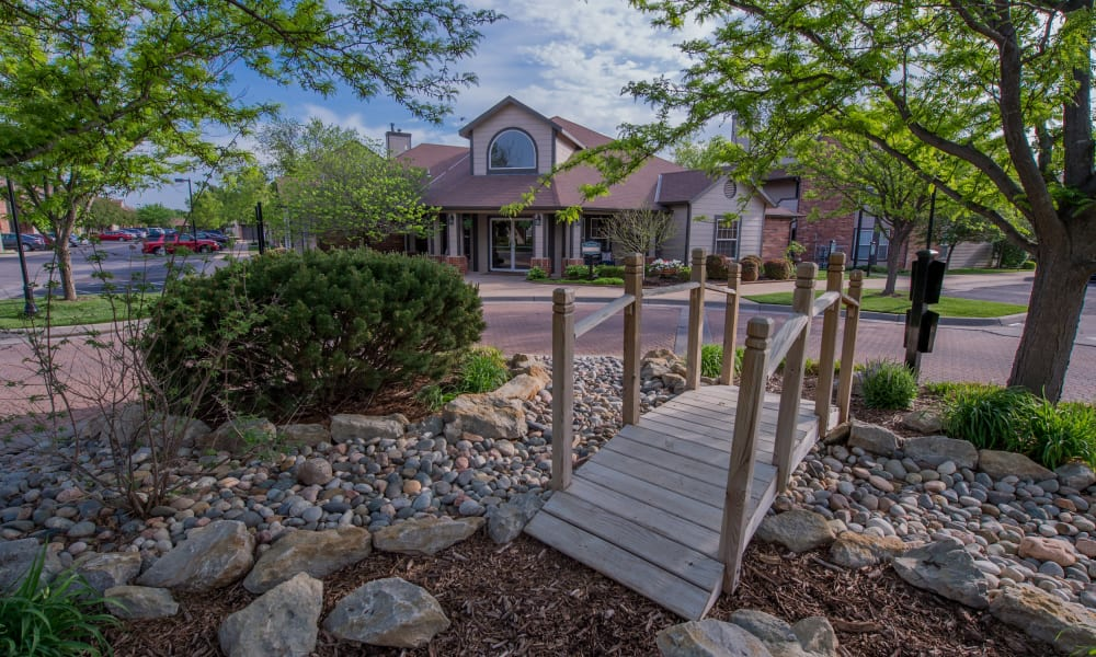 Beautiful walking path at Huntington Park Apartments  in Wichita, Kansas