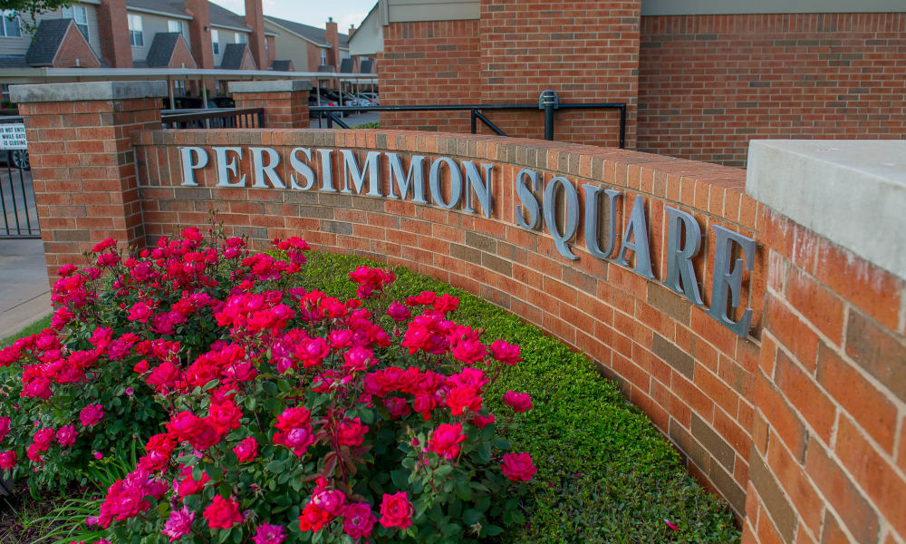 Front sign at Persimmon Square Apartments in Oklahoma City, Oklahoma