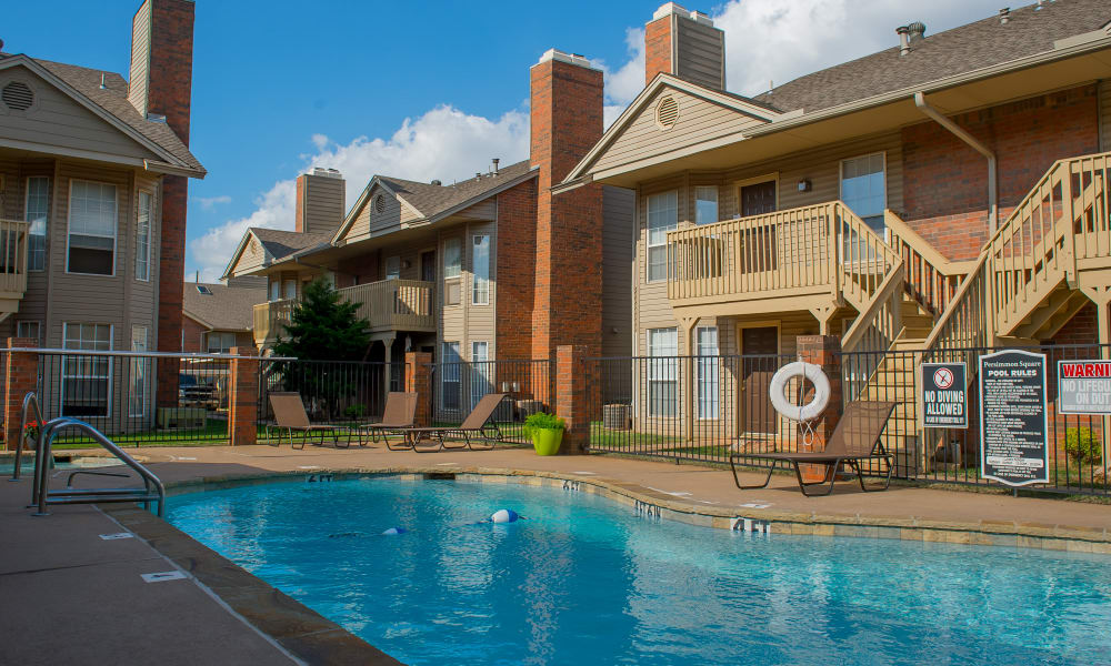 Beautiful swimming pool at Persimmon Square Apartments in Oklahoma City, Oklahoma