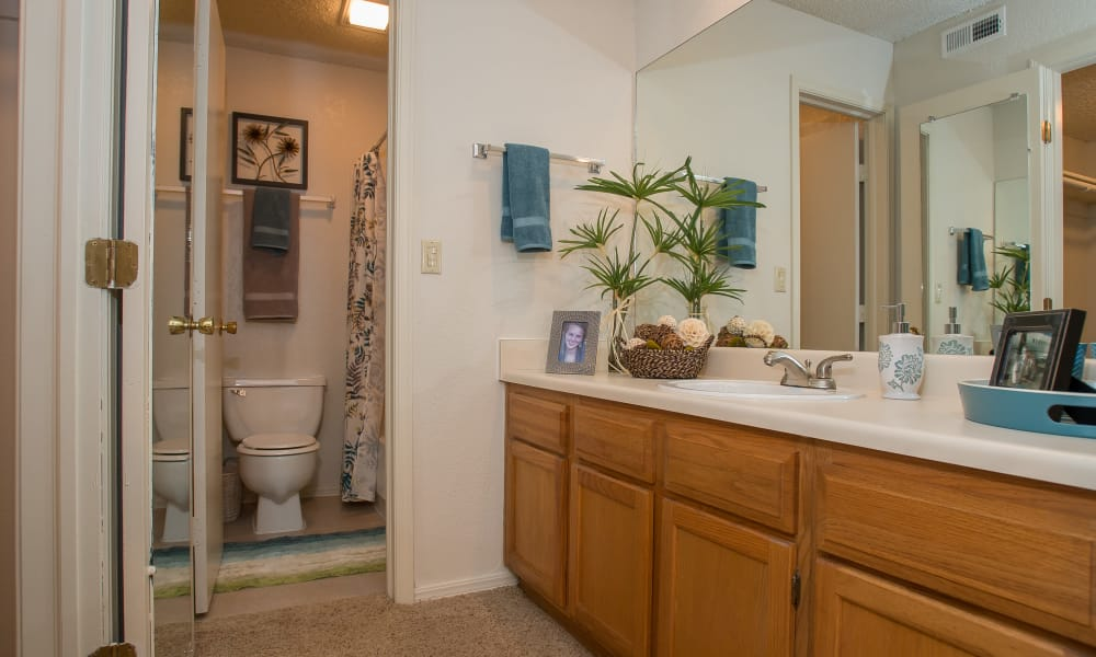 Spacious bathroom at Polo Run Apartments in Tulsa, Oklahoma