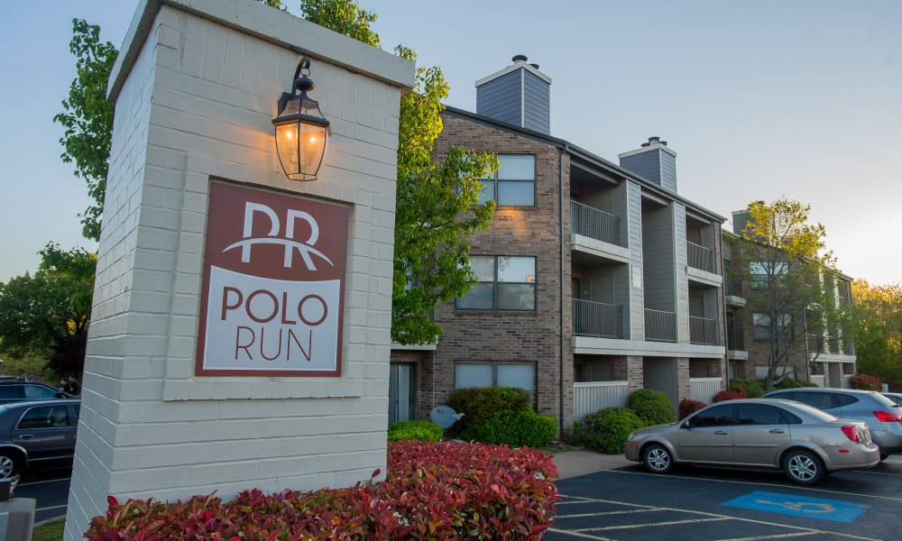 Entrance to Polo Run Apartments in Tulsa, Oklahoma