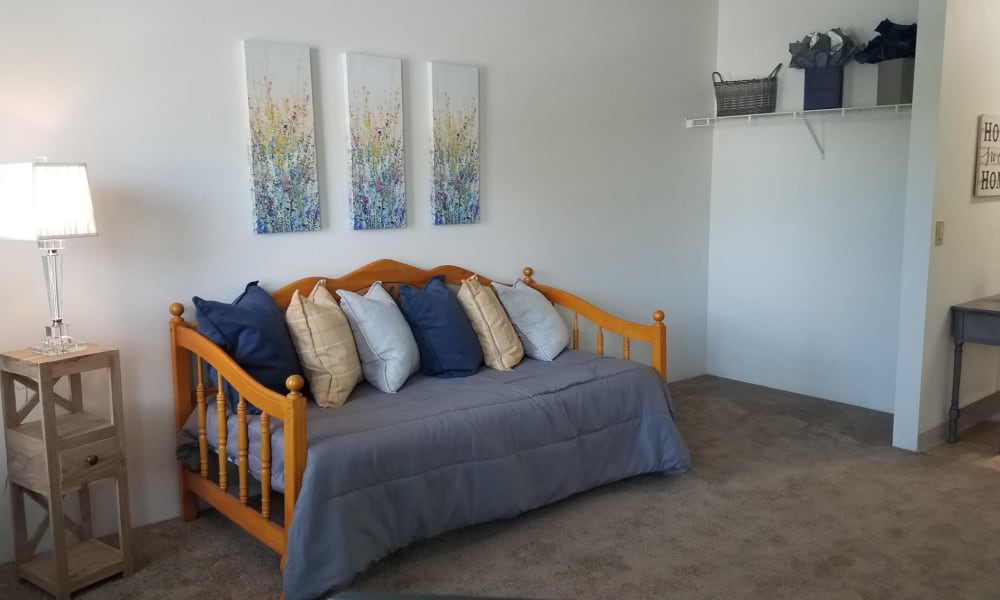 Guest bedroom at City Center Apartments in Reno, Nevada