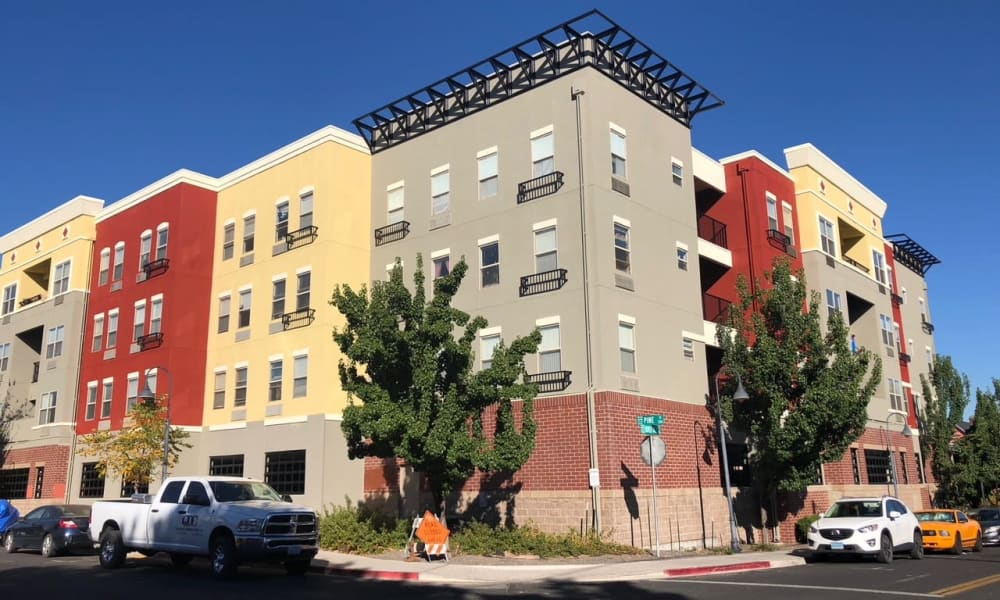Bright exterior colors of City Center Apartments in Reno, Nevada