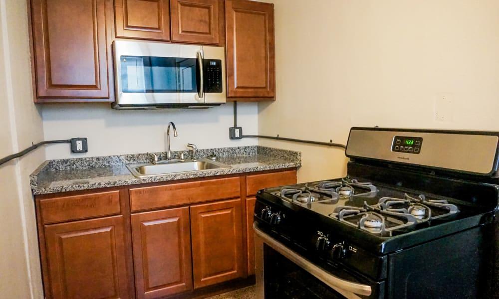 Bright kitchen at Ingersoll Flats in Des Moines, Iowa