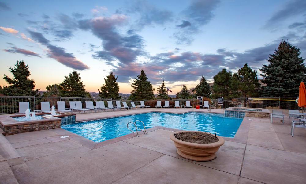 Stunning Colorado views at the expansive swimming pool in Colorado Springs, Colorado