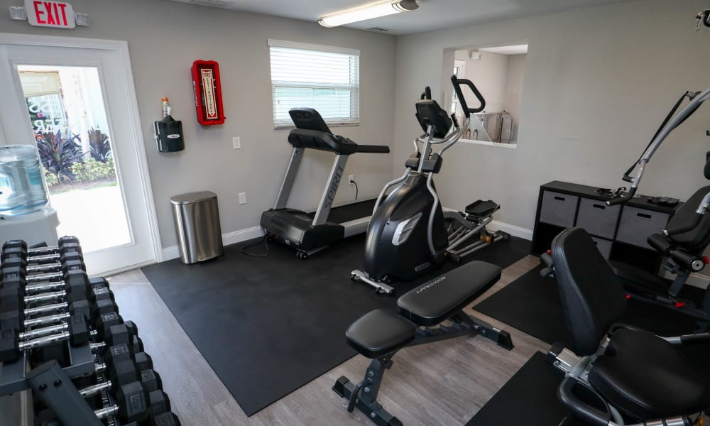 Fitness center with cardio and strength equipment at Ridgeview Apartments in Seminole, Florida