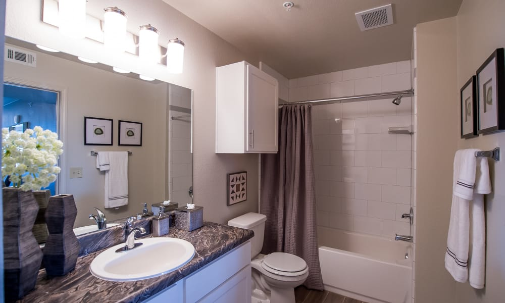 Bathroom at Scissortail Crossing Apartments in Broken Arrow, Oklahoma