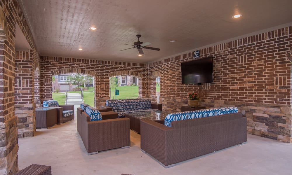 Outdoor covered seating at Scissortail Crossing Apartments in Broken Arrow, Oklahoma