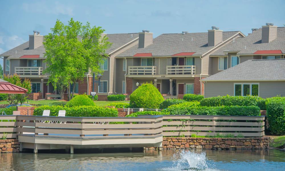 Beautiful exterior of Sheridan Pond in Tulsa, Oklahoma