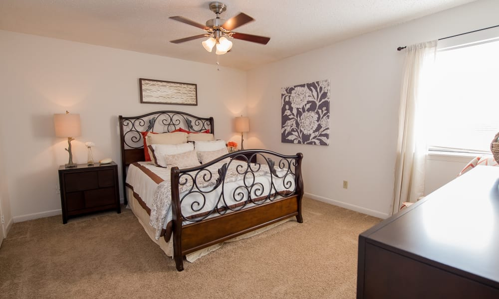 Master bedroom at The Mark Apartments in Ridgeland, Mississippi