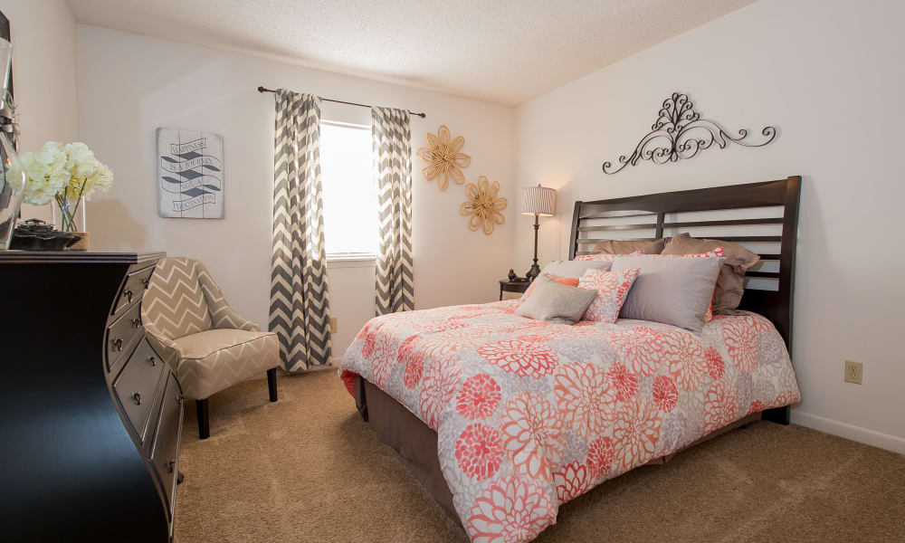 An apartment bedroom at The Mark Apartments in Ridgeland, MS