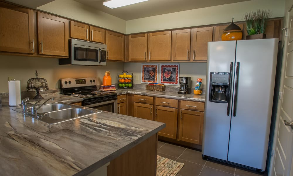 Fully equipped kitchen at The Reserve at Elm in Jenks, Oklahoma