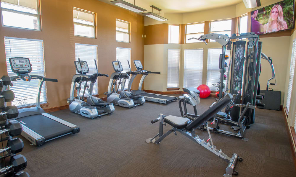 Fitness center for residents at The Reserve at Elm in Jenks, Oklahoma