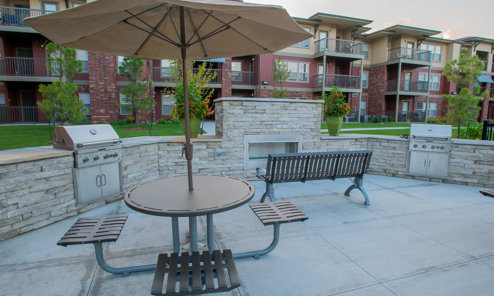 Outdoor patio with a grill at The Reserve at Elm in Jenks, Oklahoma