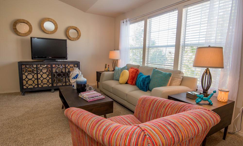 Beautiful living room at Villas at Aspen Park in Broken Arrow, Oklahoma
