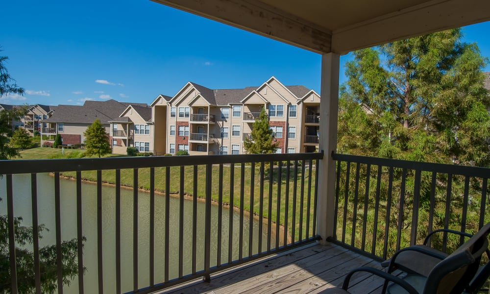 An apartment balcony at Villas at Aspen Park in Broken Arrow, Oklahoma