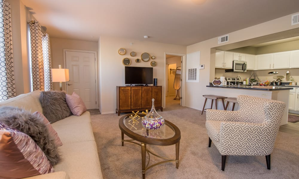 Open living room at Cottages at Crestview in Wichita, Kansas