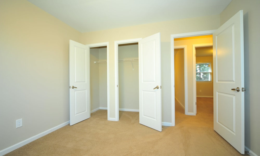 Open bedroom space with closets at Washington Square in Gaithersburg, Maryland