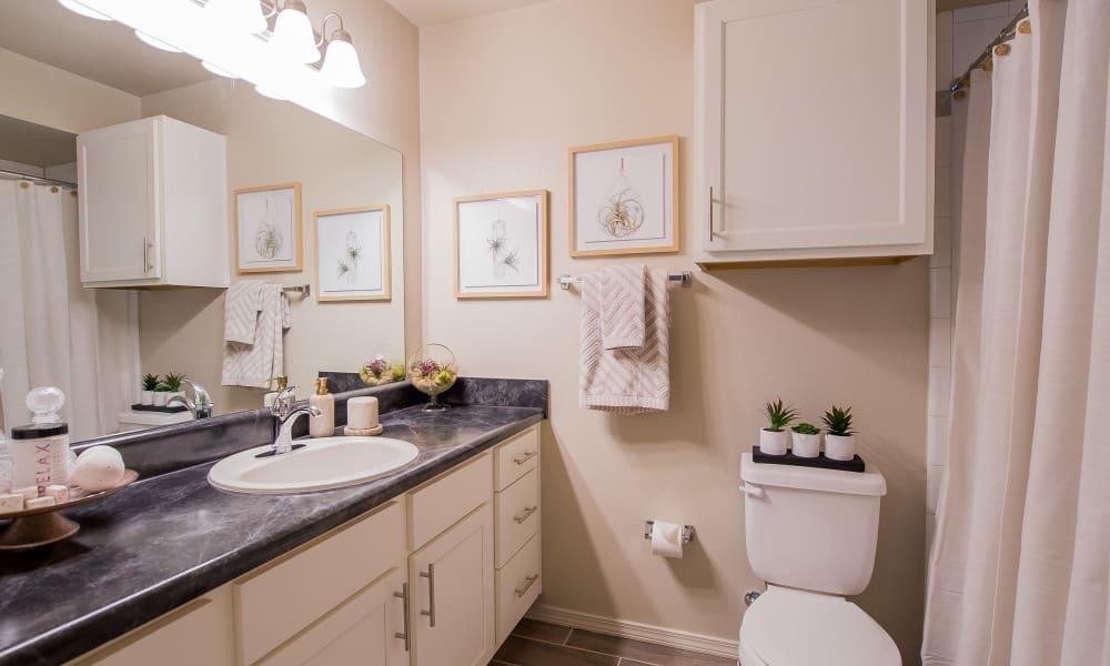 Bright bathroom at Cottages at Crestview in Wichita, Kansas