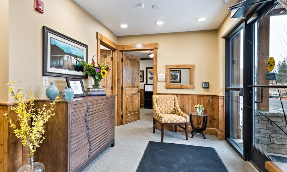 Lobby and waiting room at Mill View Memory Care in Bend, Oregon