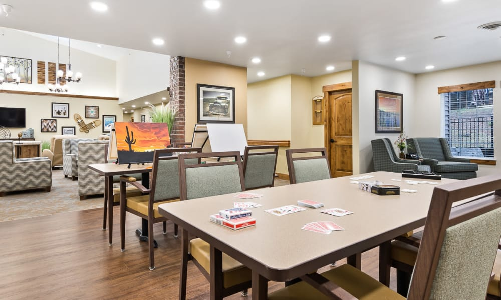 Open dining area with large tables at Mill View Memory Care in Bend, Oregon