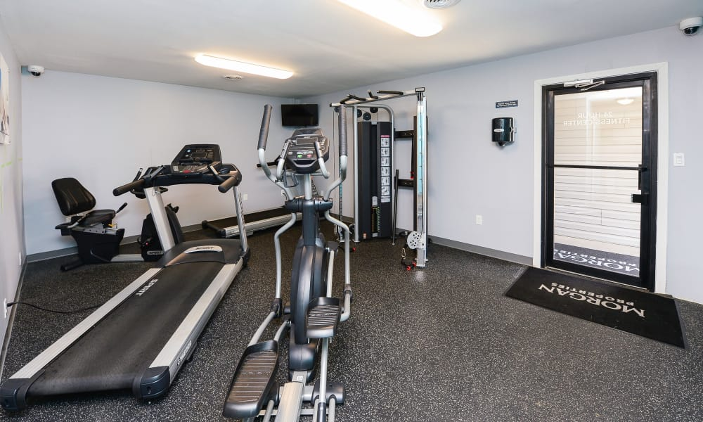 Gym and exercise equipment at Oxford Manor Apartments & Townhomes in Mechanicsburg, PA