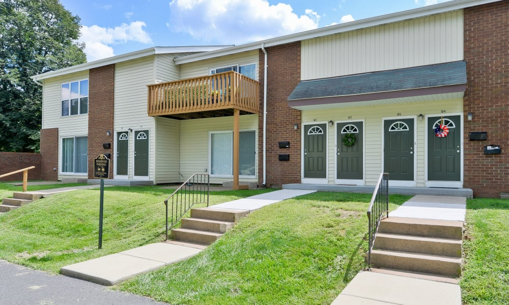 View of apartment homes at Oxford Manor Apartments & Townhomes in Mechanicsburg, PA