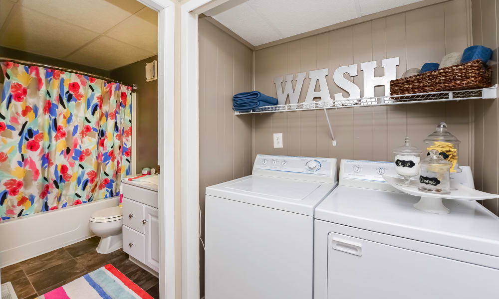 Bathroom and laundry room atOxford Manor Apartments & Townhomes in Mechanicsburg, PA