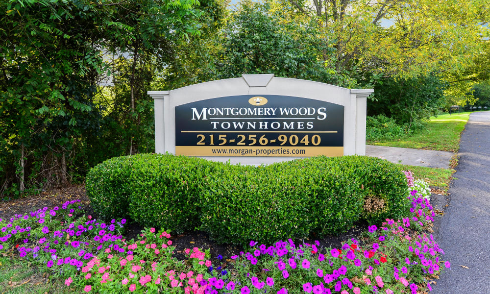 Beautiful entryway at Montgomery Woods Townhomes in Harleysville, Pennsylvania