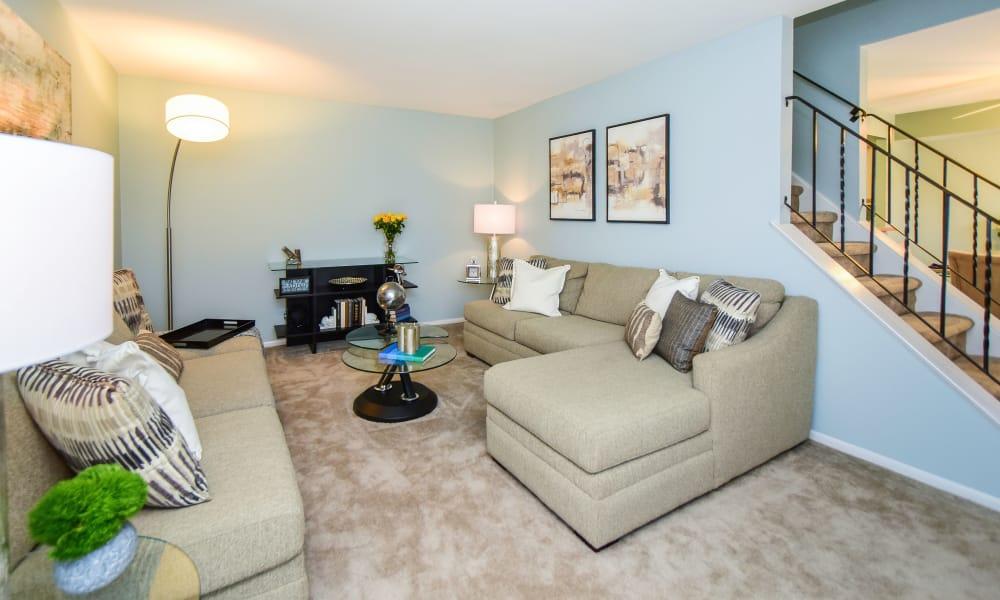 Beautiful living room at apartments in Harleysville, Pennsylvania