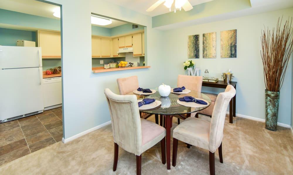 Modern dining room at apartments in Harleysville, Pennsylvania