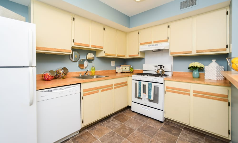 Modern kitchen at apartments in Harleysville, Pennsylvania