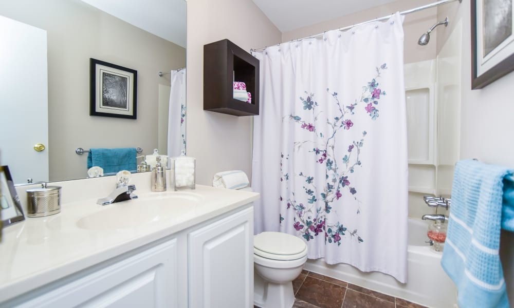 Beautiful bathroom at Montgomery Woods Townhomes in Harleysville, Pennsylvania