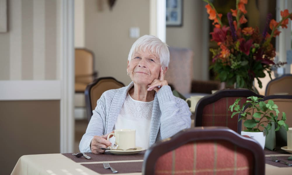 Pondering Resident at Robinwood Landing Alzheimer's Special Care Center