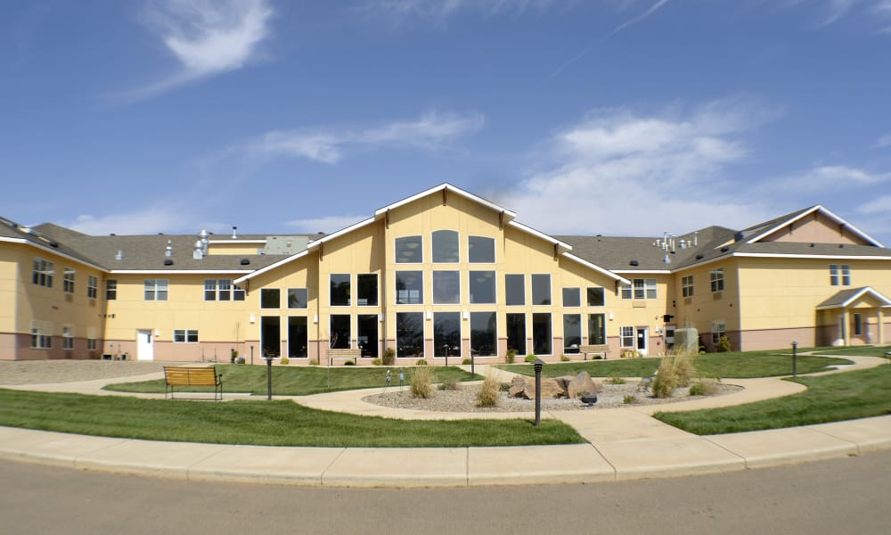 Exterior view of building at Wheatfields Senior Living Community in Clovis, New Mexico