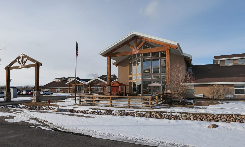 Exterior of Elk Meadows Assisted Living in Oakley, Utah in the snow