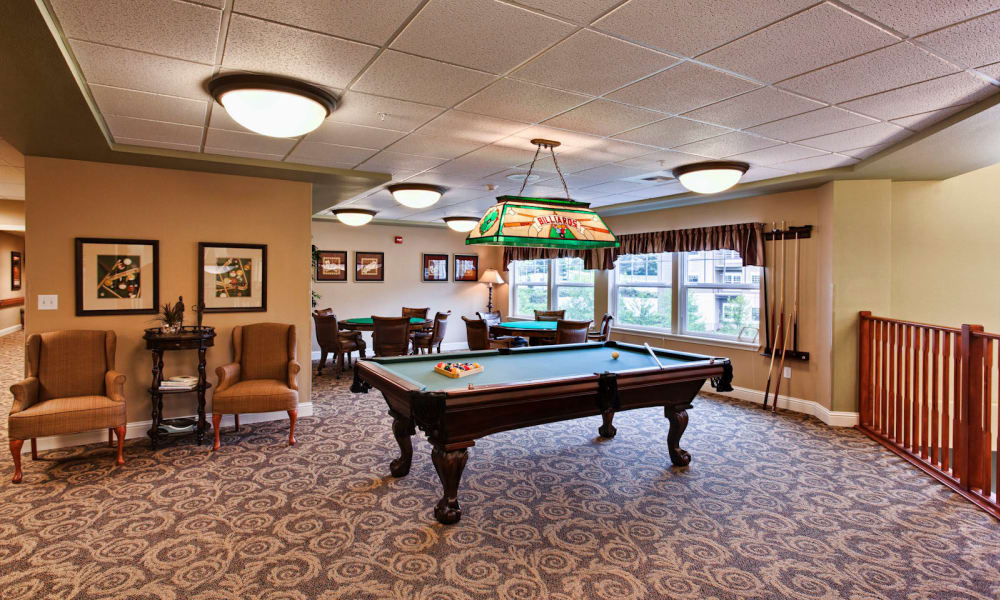 Pool table and game area at Sea View Senior Living Community in Brookings, Oregon