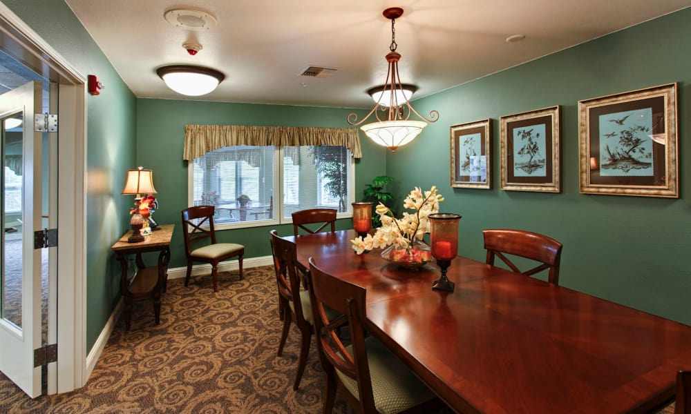 Private dining area at Sea View Senior Living Community in Brookings, Oregon