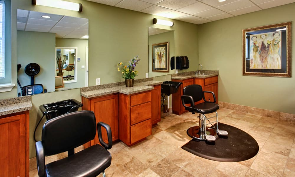 Hair salon at Sea View Senior Living Community in Brookings, Oregon
